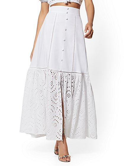 Eyelet-Detail Maxi Skirt - New York & Company