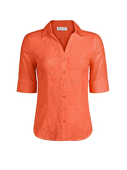 Eyelet Madison Stretch Shirt - Secret Snap - 7th Avenue - New York & Company
