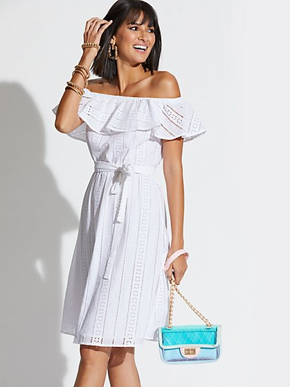 37d190c54978 PAPER WHITE. New Arrival. Eyelet Off-The-Shoulder Flare Dress - New York    Company ...