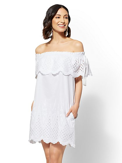 Eyelet Off-The-Shoulder Shift Dress - New York & Company