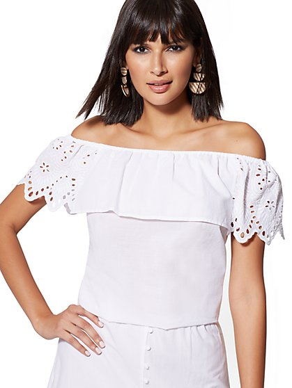Eyelet-Overlay Off-The-Shoulder Blouse - New York & Company