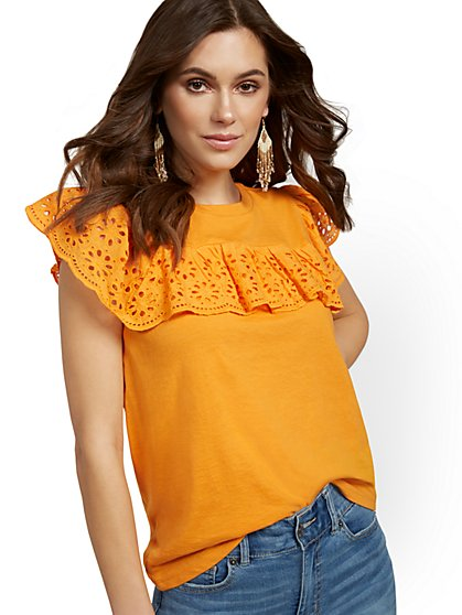 Eyelet Ruffle Top - New York & Company