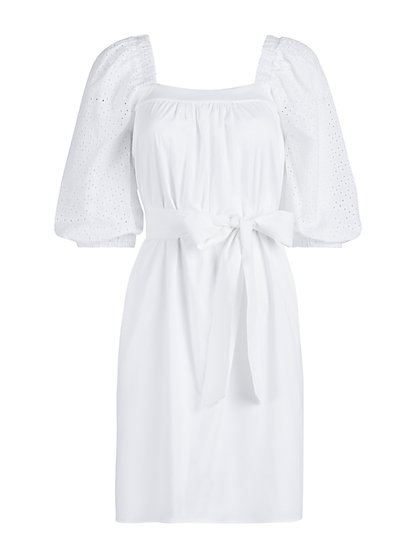 Eyelet-Sleeve Cotton Poplin Dress - New York & Company