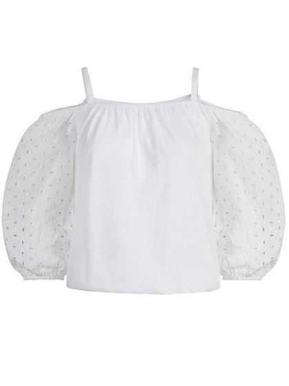 Eyelet Sleeve Off-The-Shoulder Top - New York & Company