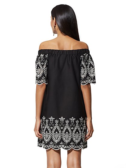 664be89812f7 ... Eyelet-Trim Off-The-Shoulder Shift Dress - New York   Company ...