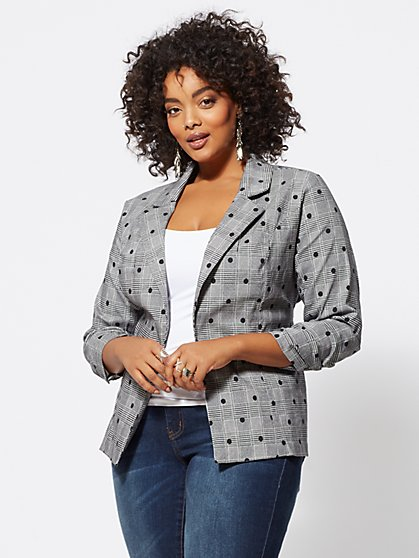 FTF Annie Polka Dot Plaid Blazer - New York & Company