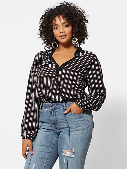 FTF Becca Striped Bodysuit - New York & Company