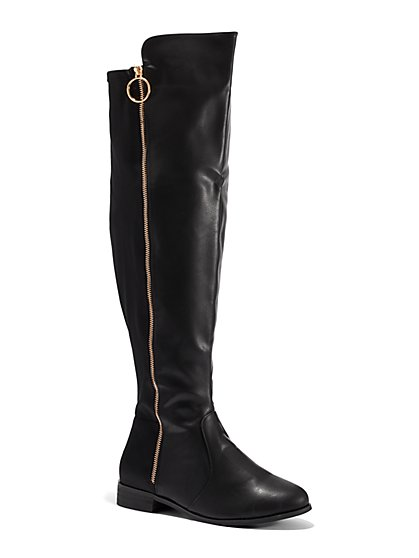 FTF Bridget Over-The-Knee Riding Boots - Wide Width - New York & Company