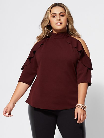 FTF Brielle Cold-Shoulder Blouse - New York & Company