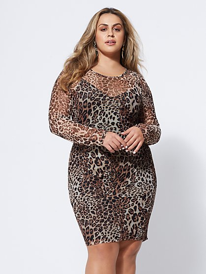 FTF Calico Mesh Bodycon Dress - New York & Company