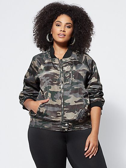 FTF Camo Bomber Jacket - New York & Company