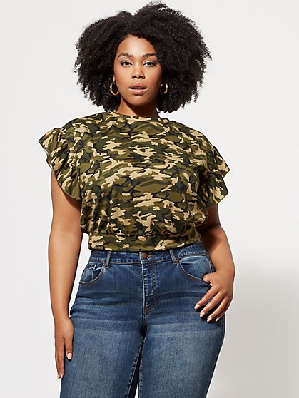 FTF Camo Ruffle-Sleeve Top - New York & Company