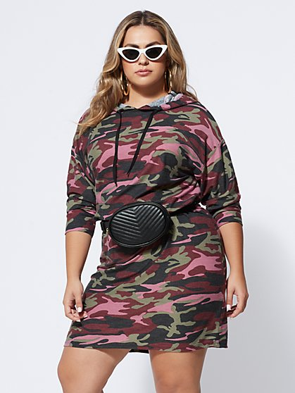 FTF Camo Sweatshirt Dress - New York & Company
