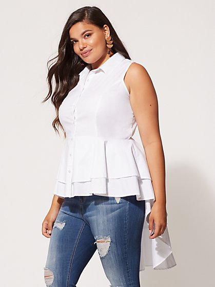 FTF Charlotte Sleeveless Peplum Top - New York & Company