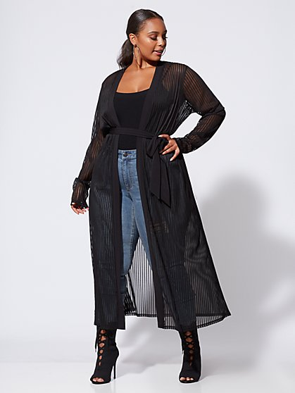 FTF Delaney Sheer Striped Duster - New York & Company