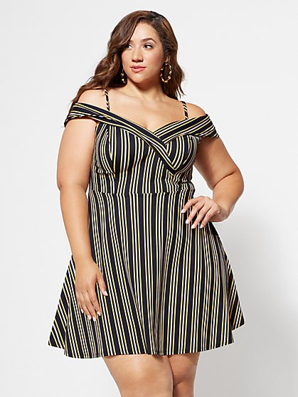FTF Delilah Striped Flare Dress - New York & Company