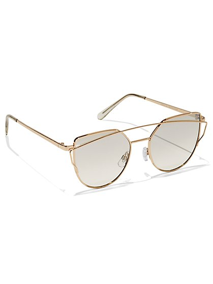 FTF Golden Cat-Eye Sunglasses - New York & Company