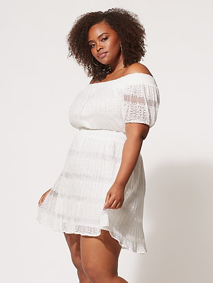 FTF Gracie Off-Shoulder Lace Dress - New York & Company