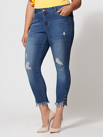 FTF Grommet-Accented Skinny Jeans - New York & Company