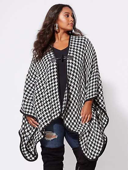 FTF Hailey Houndstooth Ruana - New York & Company