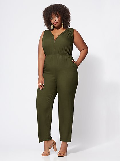 FTF Hazel Zip-Front Jumpsuit - New York & Company