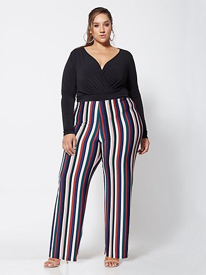 FTF Honey Striped Jumpsuit - New York & Company