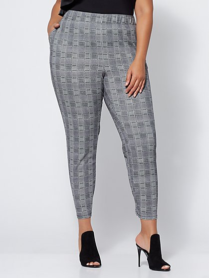 FTF Janie Plaid Jogger Pants - New York & Company