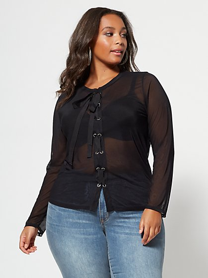 FTF Jett Lace-Up Mesh Top - New York & Company