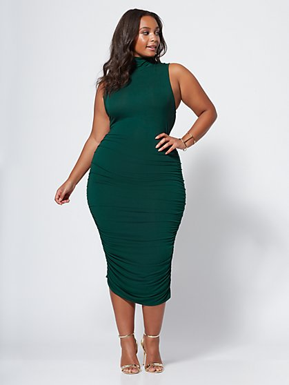 FTF Kat Ruched Midi Dress - New York & Company