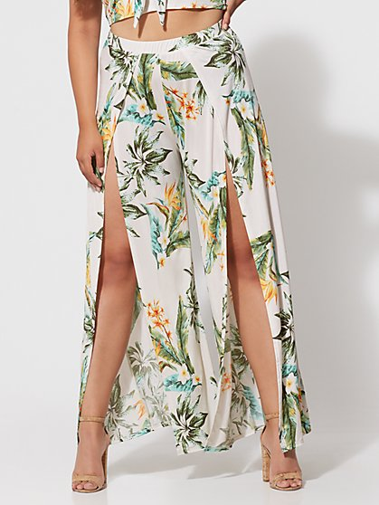 FTF Kiara Tropical Front Slit Pants - New York & Company