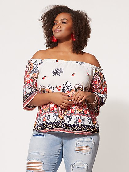 FTF Laila Embroidered Print Top - New York & Company