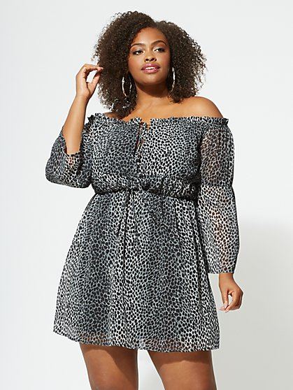 FTF Leona Cheetah Print Dress - New York & Company