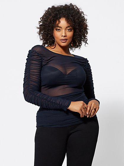FTF Merlinda Ruched Mesh Top - New York & Company