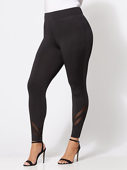 FTF Mesh-Panel Leggings - New York & Company