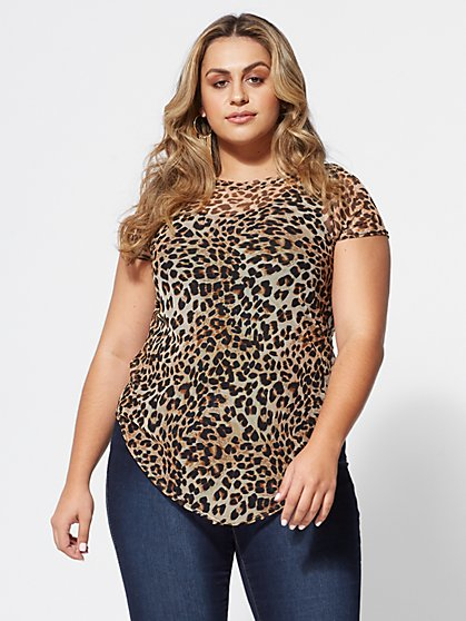 FTF Morocco Animal-Print Mesh Top - New York & Company