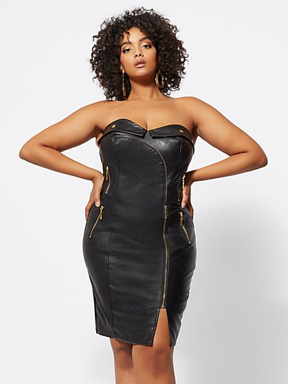FTF Natalie Faux-Leather Bodycon Dress - New York & Company