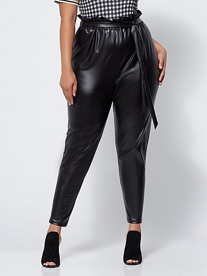 FTF Palley Faux-Leather Paperbag Pants - New York & Company