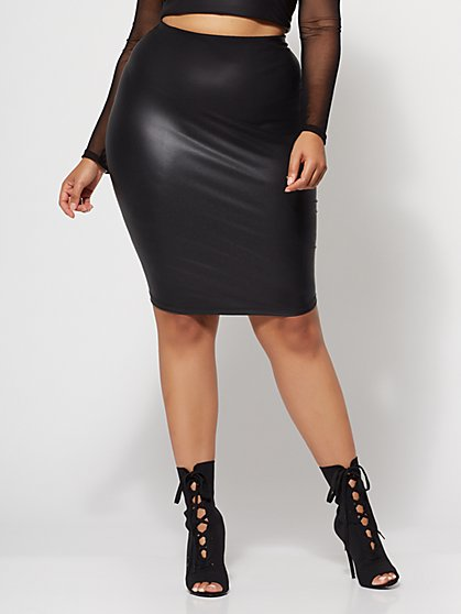 FTF Peyton Faux-Leather Pencil Skirt - New York & Company