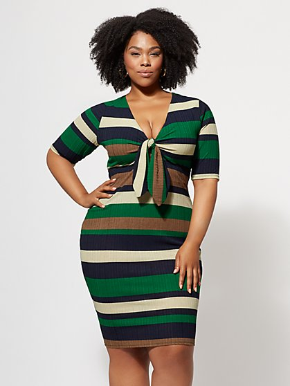 Green Trendy Plus Size Dresses Tops Denim For Women Fashion To Figure