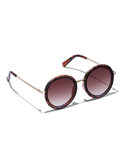 FTF Round Tortoise Shell Sunglasses - New York & Company