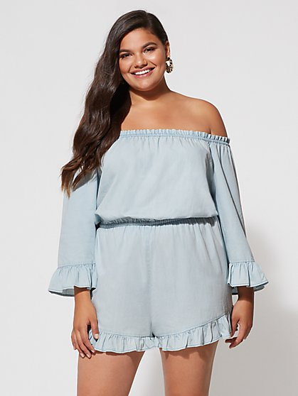 FTF Rylie Off-Shoulder Romper - New York & Company