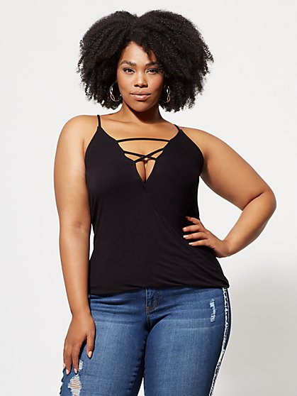 FTF Sammi Lace-Up Surplice Top - New York & Company