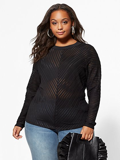 FTF Shadow Mesh Top - New York & Company