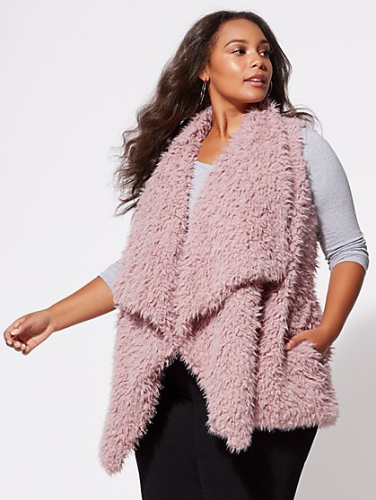 FTF Shaggy Faux-Fur Vest - New York & Company