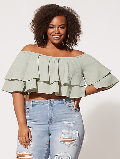 FTF Shea Ruffle Crop Top - New York & Company