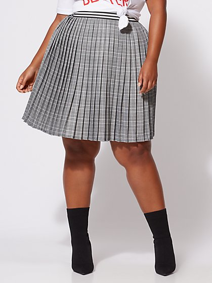 FTF Stacie Plaid Pleated Skirt - New York & Company