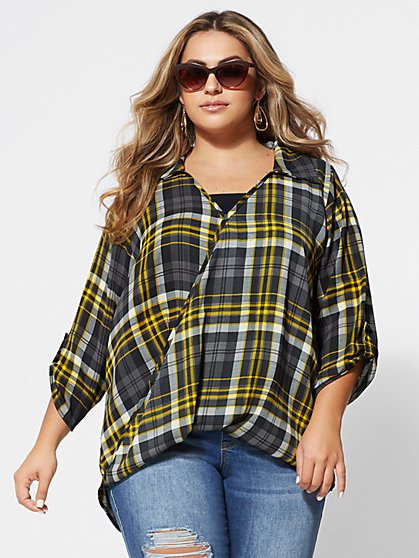 FTF Syndi Plaid Surplice Blouse - New York & Company