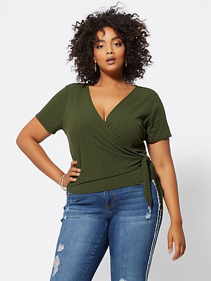FTF Tara Wrap-Front Top - New York & Company