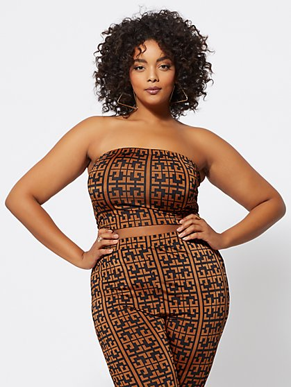 FTF Taraji Geo Print Tube Top - New York & Company