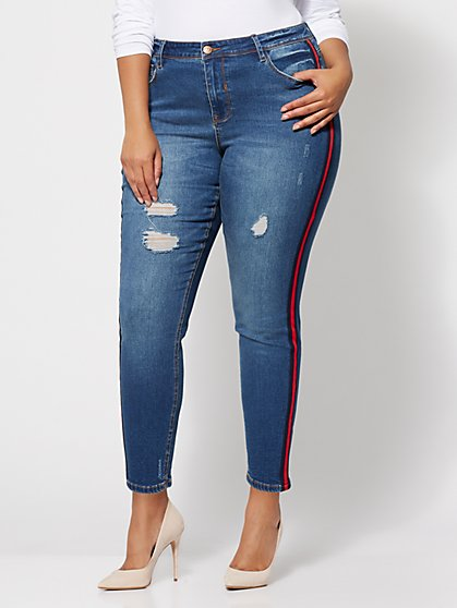 FTF Trim-Accented Skinny Jeans - New York & Company